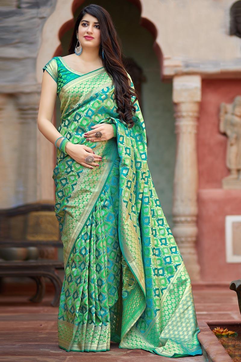 Art Silk Traditional Wear Sea Green Designer Weaving Work Saree