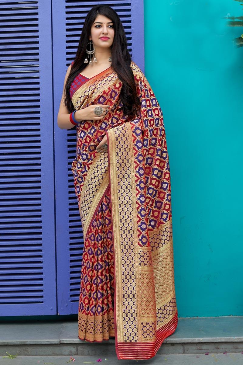 Traditional Wear Art Silk Maroon Designer Weaving Work Saree