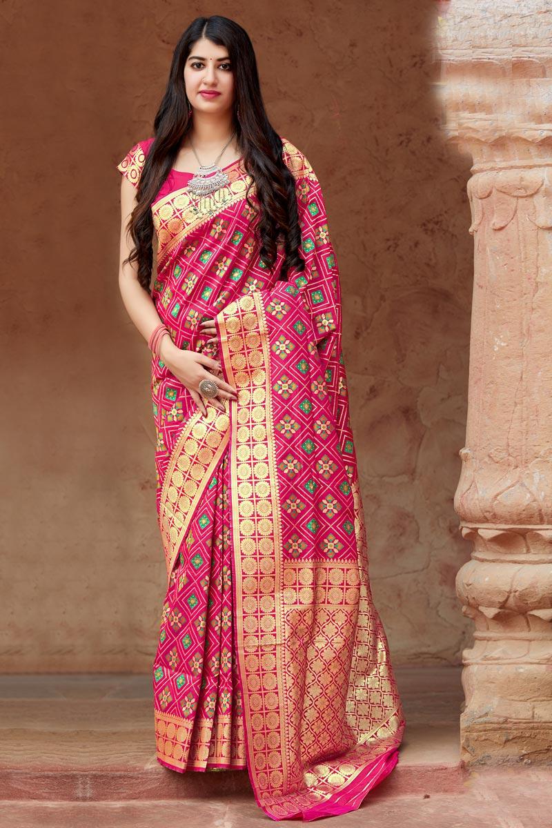 Art Silk Rani Color Traditional Wear Designer Weaving Work Saree