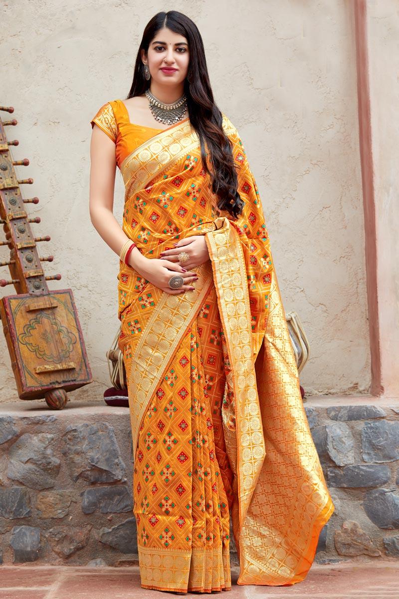 Traditional Wear Orange Designer Weaving Work Saree In Art Silk
