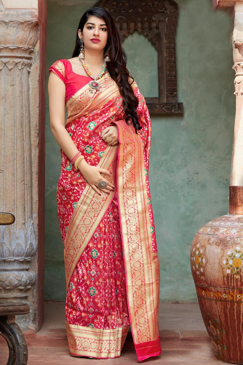Traditional Wear Pink Designer Art Silk Weaving Work Saree