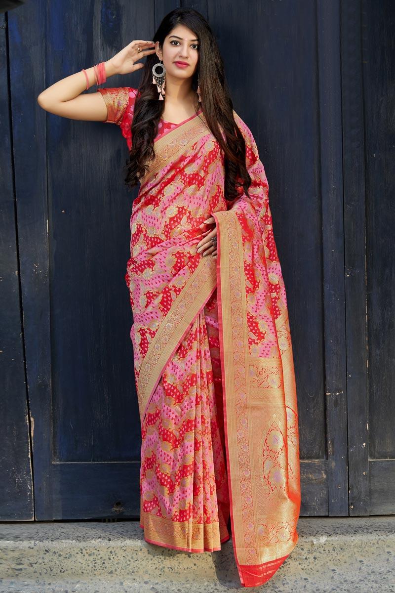 Pink Traditional Wear Art Silk Designer Weaving Work Saree
