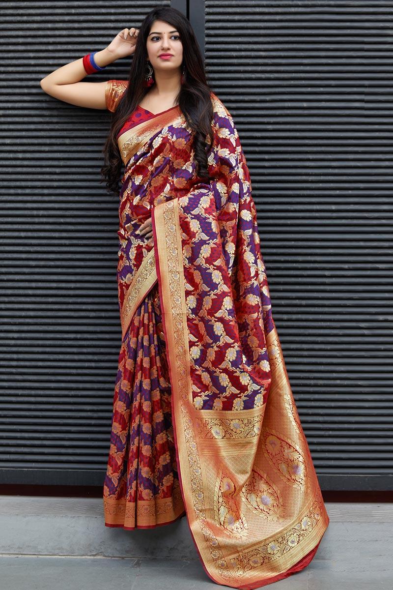 Traditional Wear Maroon Art Silk Designer Weaving Work Saree