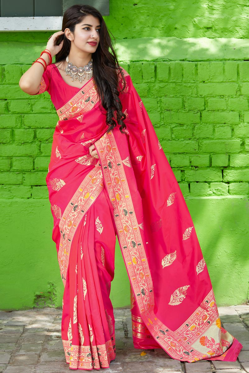 Silk Fabric Classy Sangeet Wear Rani Color Weaving Work Saree