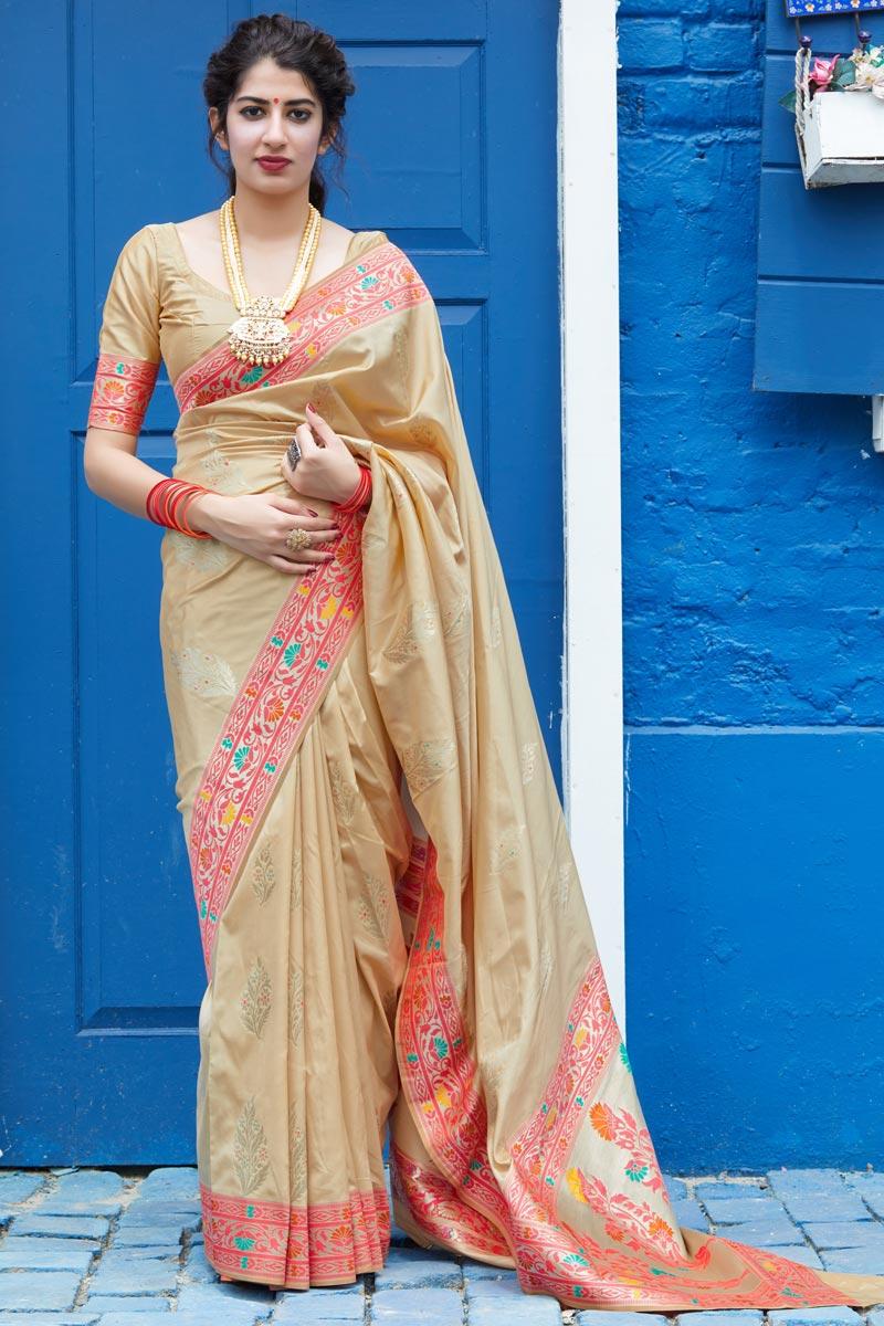 Sangeet Wear Beige Color Classy Silk Fabric Weaving Work Saree