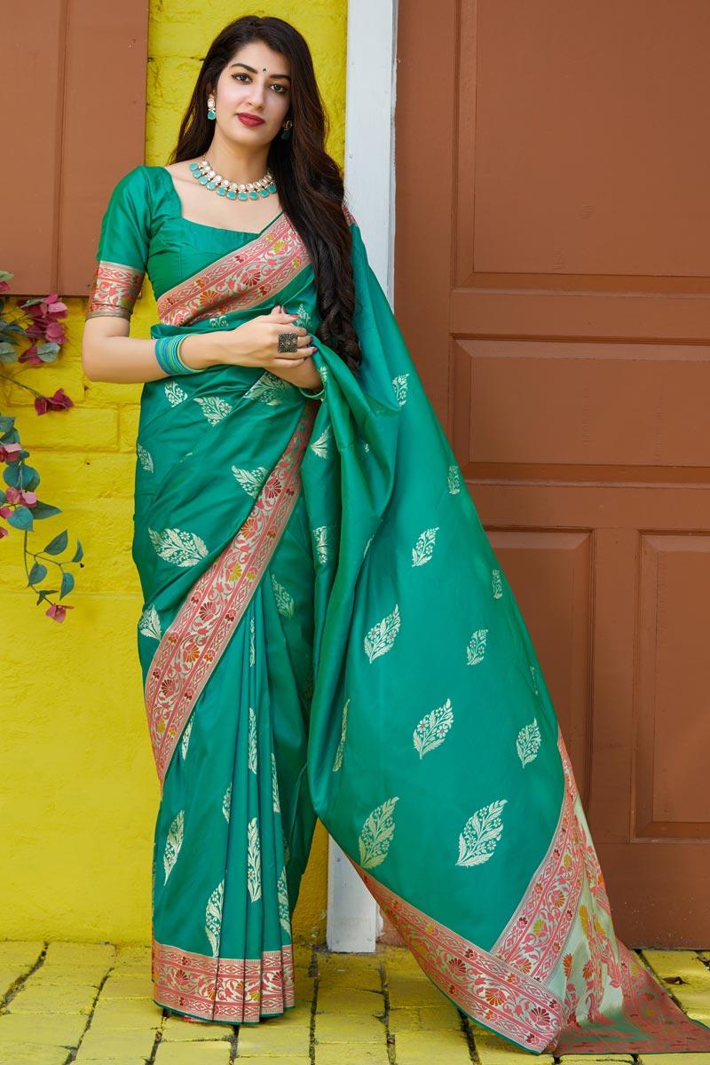 Silk Fabric Sangeet Wear Classy Cyan Color Weaving Work Saree
