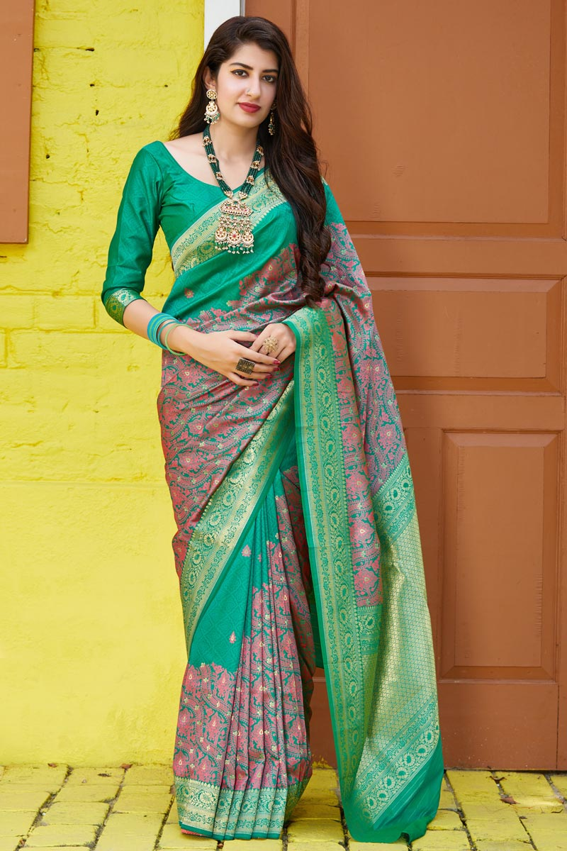 Cyan Color Classy Sangeet Wear Silk Fabric Weaving Work Saree
