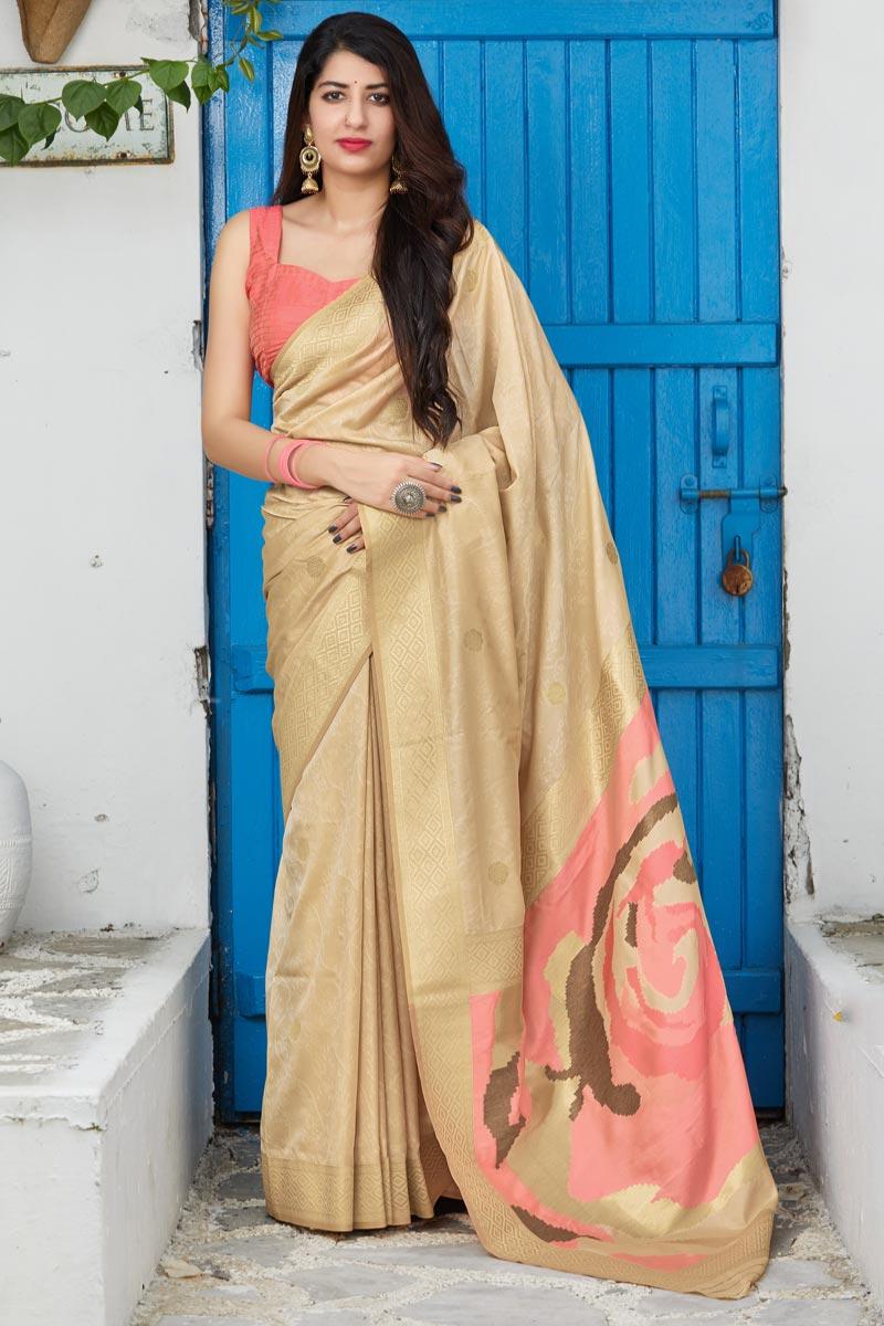 Silk Fabric Sangeet Wear Beige Color Classy Weaving Work Saree