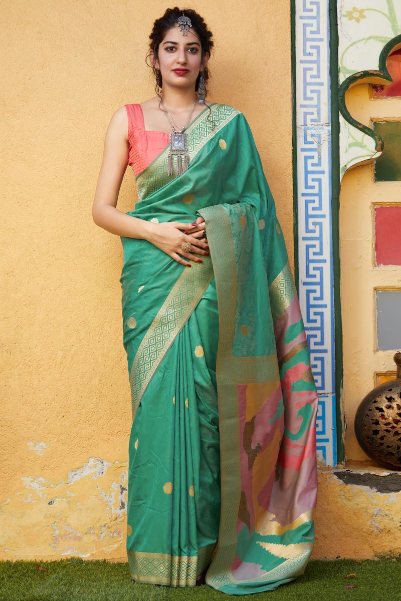 Sea Green Color Sangeet Wear Classy Silk Fabric Weaving Work Saree
