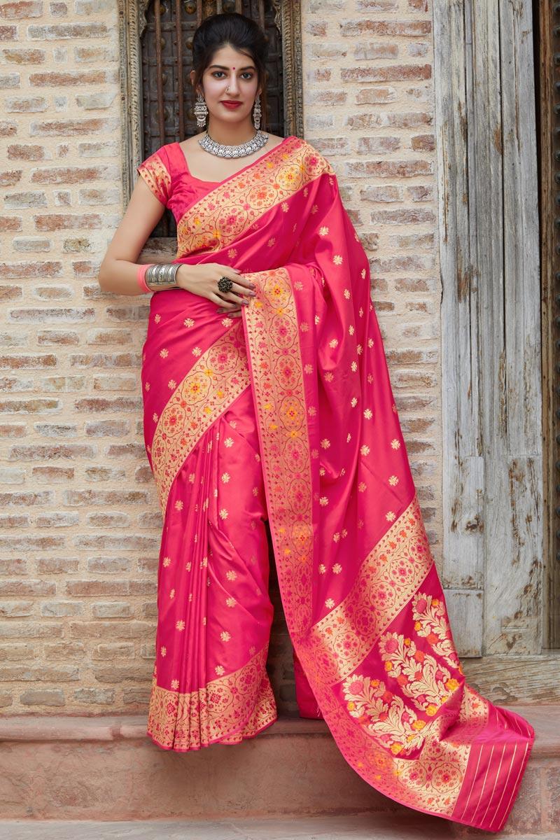 Sangeet Wear Silk Fabric Classy Rani Color Weaving Work Saree
