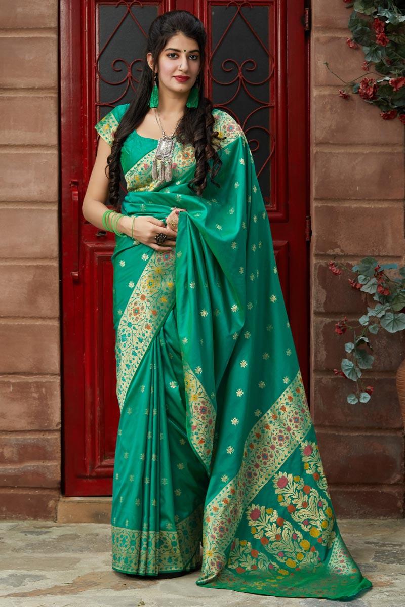 Sangeet Wear Teal Color Classy Weaving Work Saree In Silk Fabric