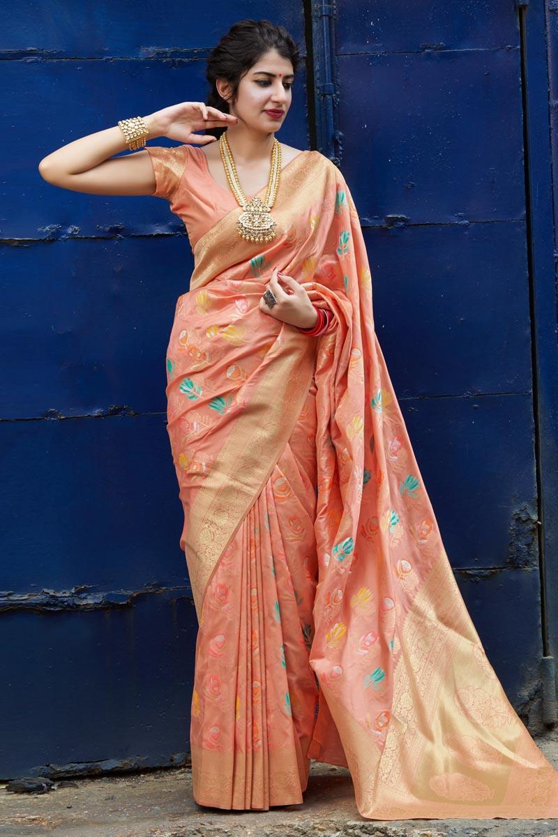 Silk Fabric Sangeet Wear Classy Peach Color Weaving Work Saree