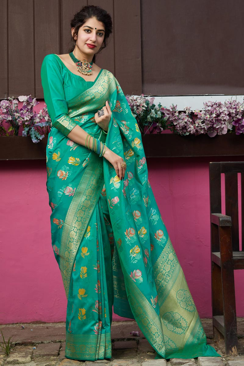Silk Fabric Alluring Sangeet Wear Cyan Color Weaving Work Saree
