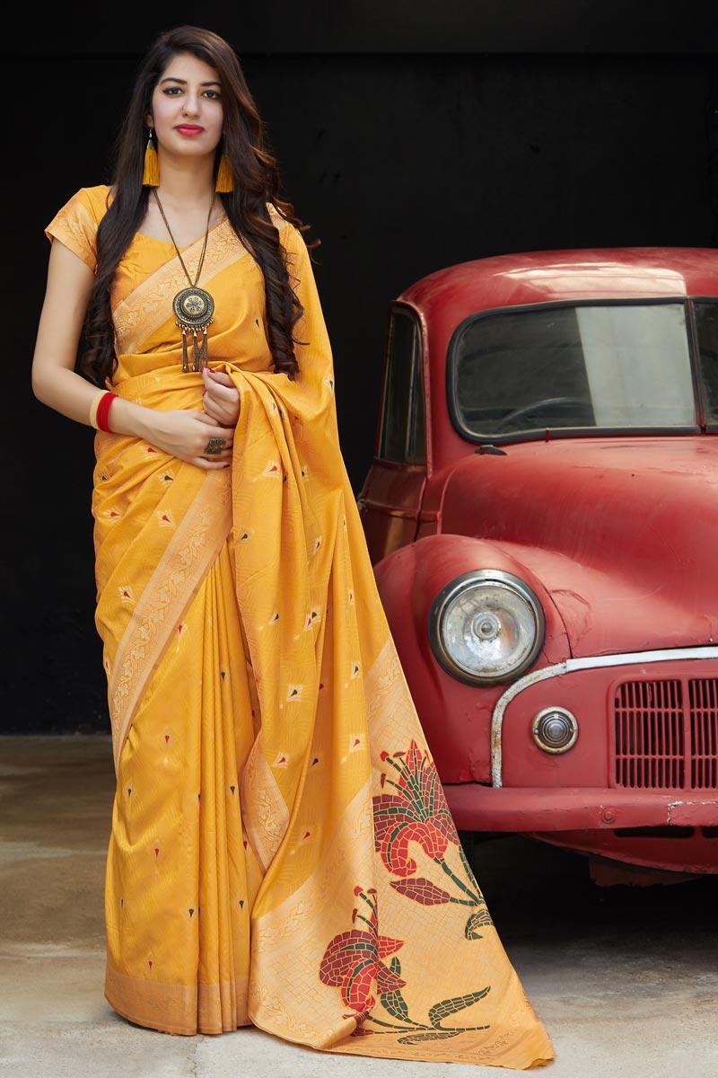 Mustard Color Sangeet Wear Silk Fabric Alluring Weaving Work Saree