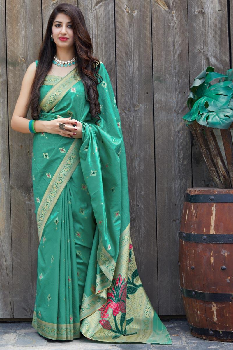 Silk Fabric Alluring Sangeet Wear Sea Green Color Weaving Work Saree