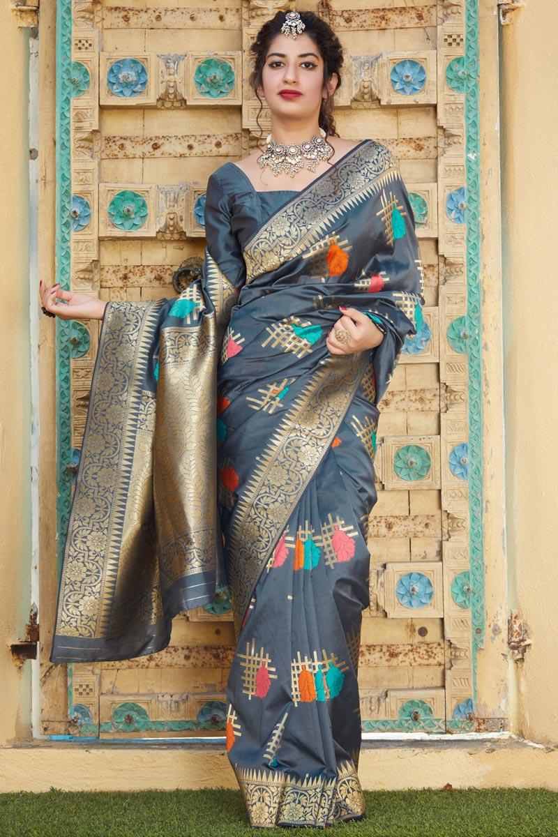 Grey Color Sangeet Wear Silk Fabric Alluring Weaving Work Saree