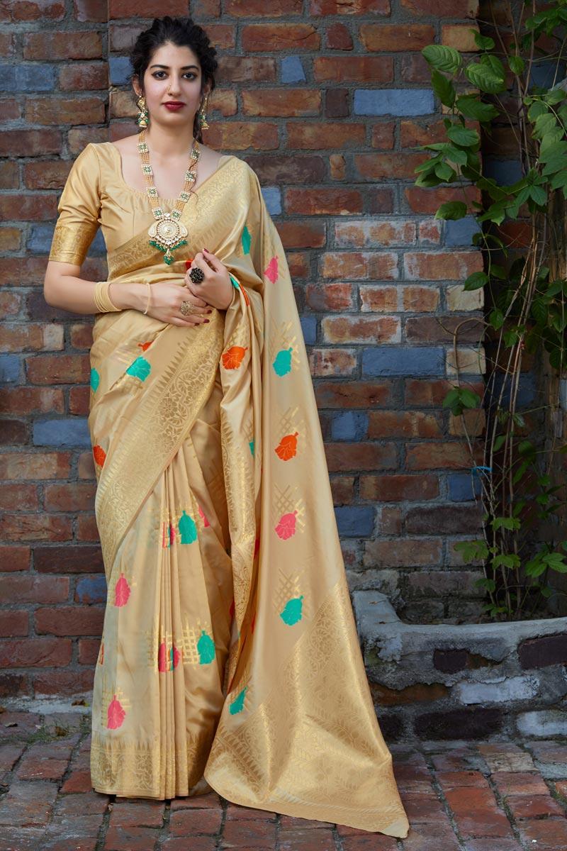 Sangeet Wear Silk Fabric Alluring Weaving Work Saree In Beige Color