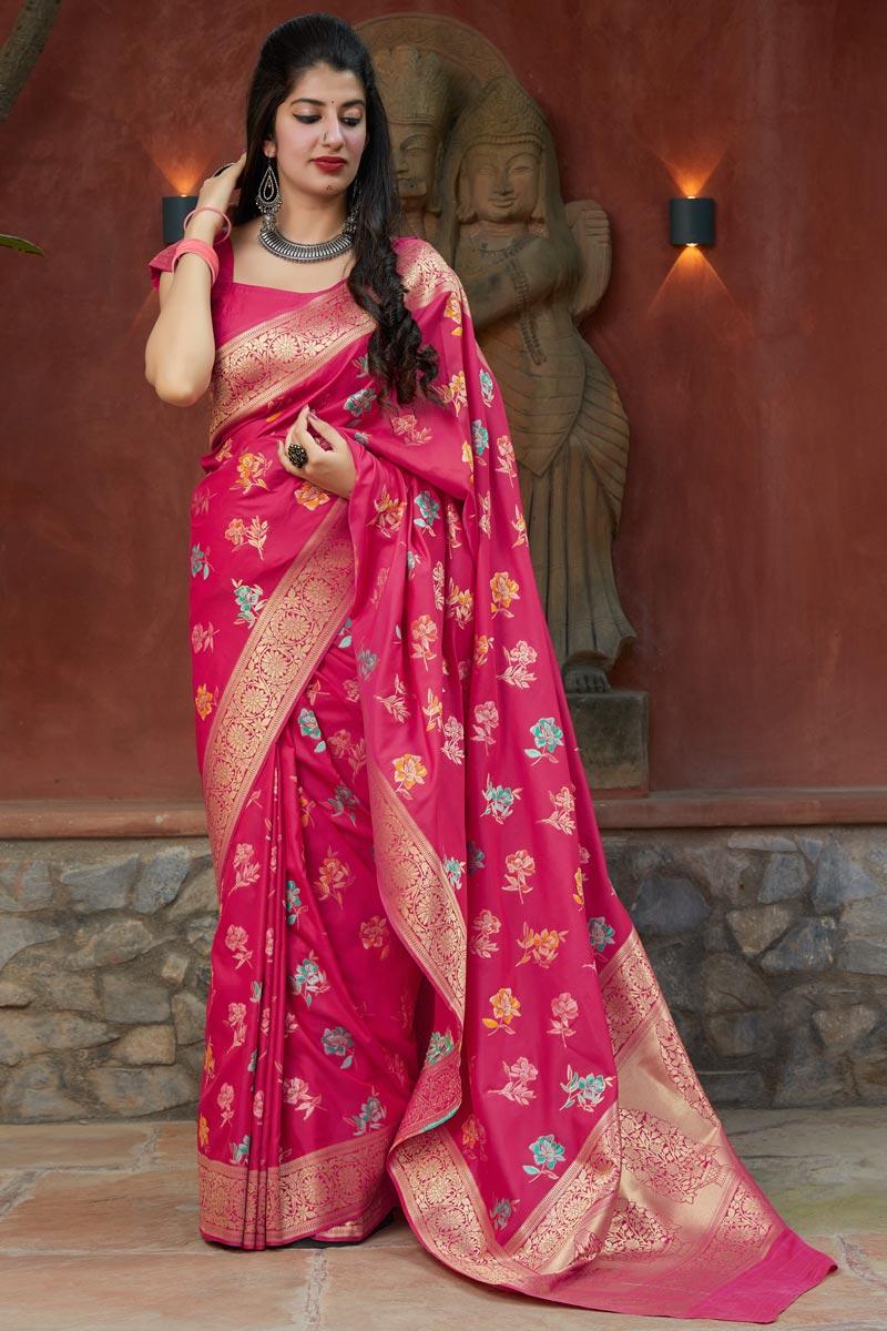 Rani Color Alluring Sangeet Wear Silk Fabric Weaving Work Saree