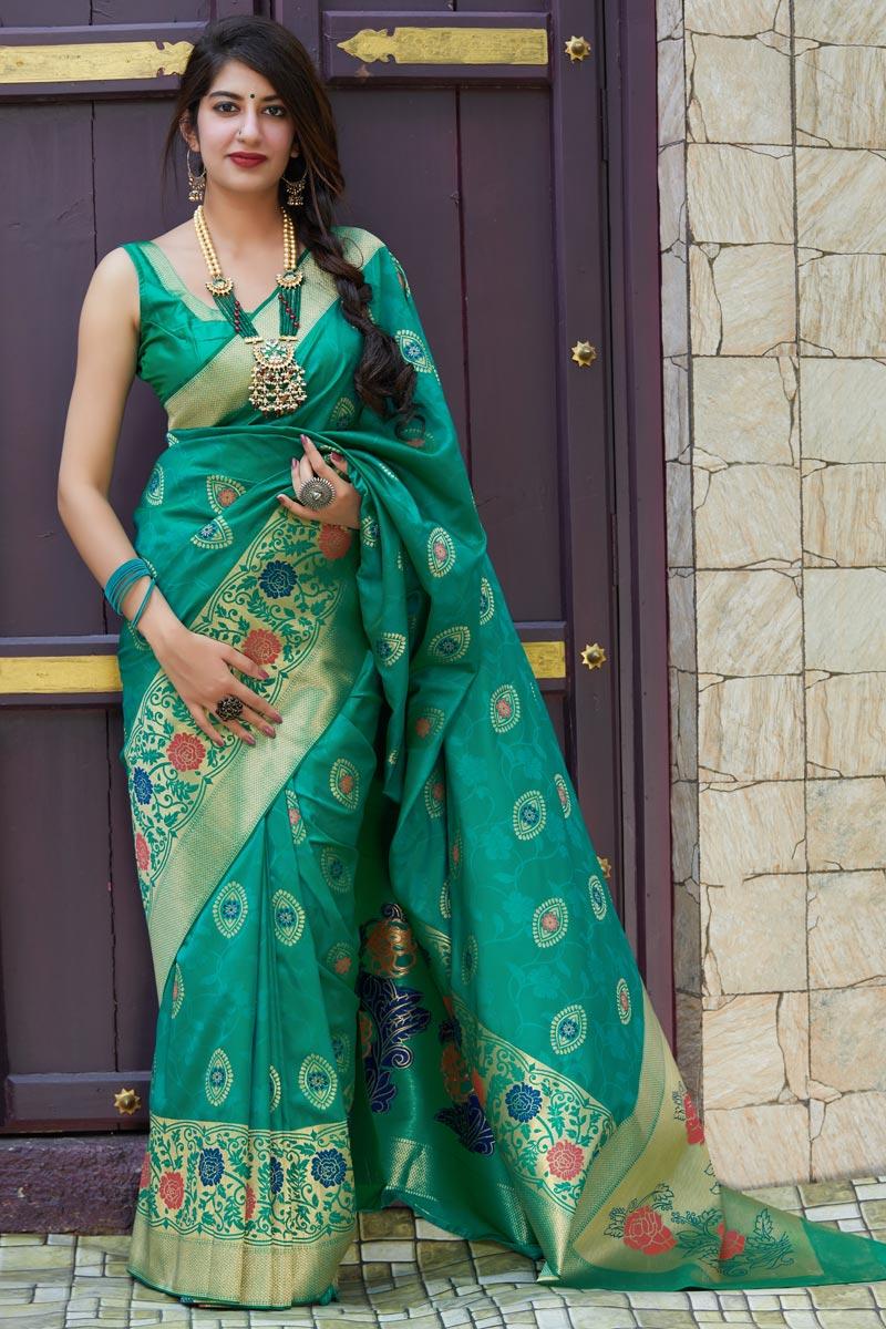 Silk Fabric Sangeet Wear Cyan Color Alluring Weaving Work Saree