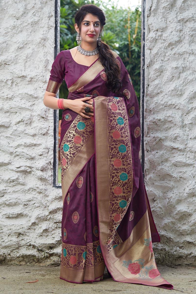Wine Color Alluring Sangeet Wear Silk Fabric Weaving Work Saree
