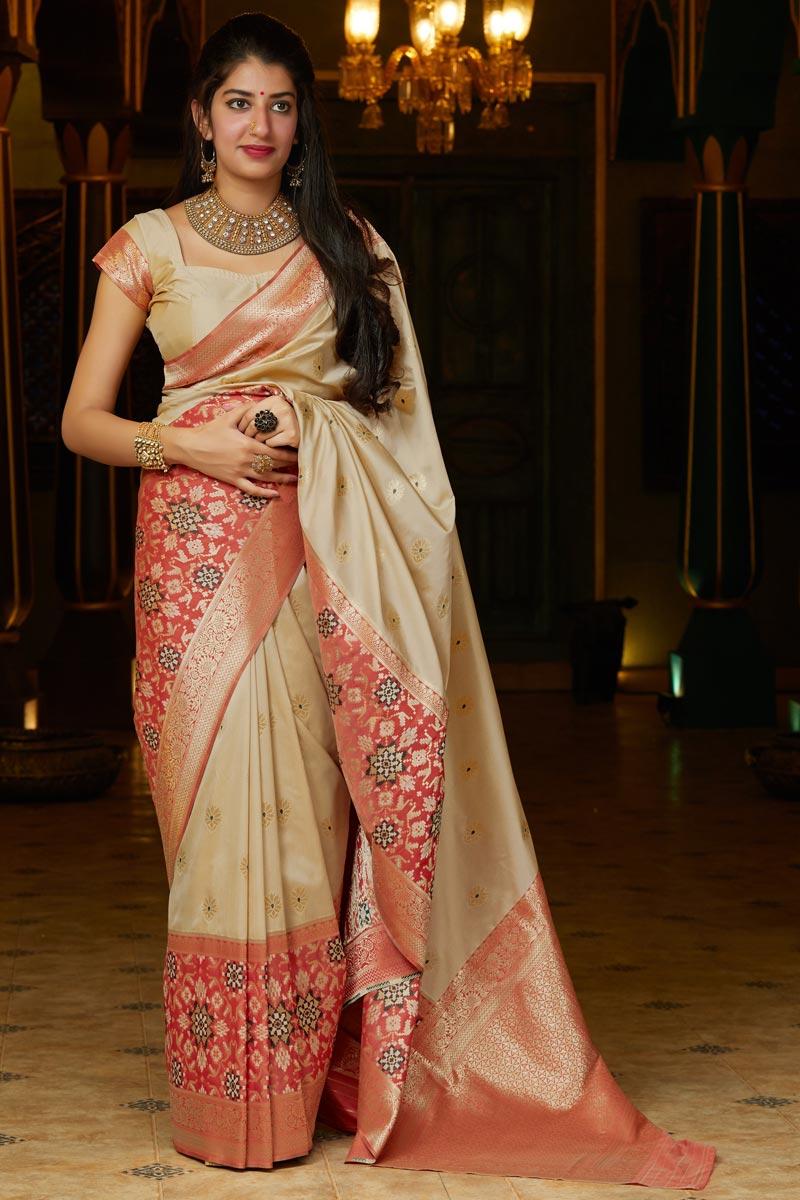 Sangeet Wear Silk Fabric Alluring Beige Color Weaving Work Saree