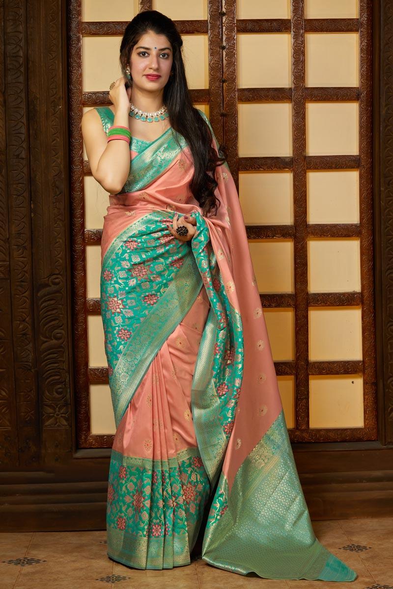 Sangeet Wear Peach Color Alluring Weaving Work Saree In Silk Fabric