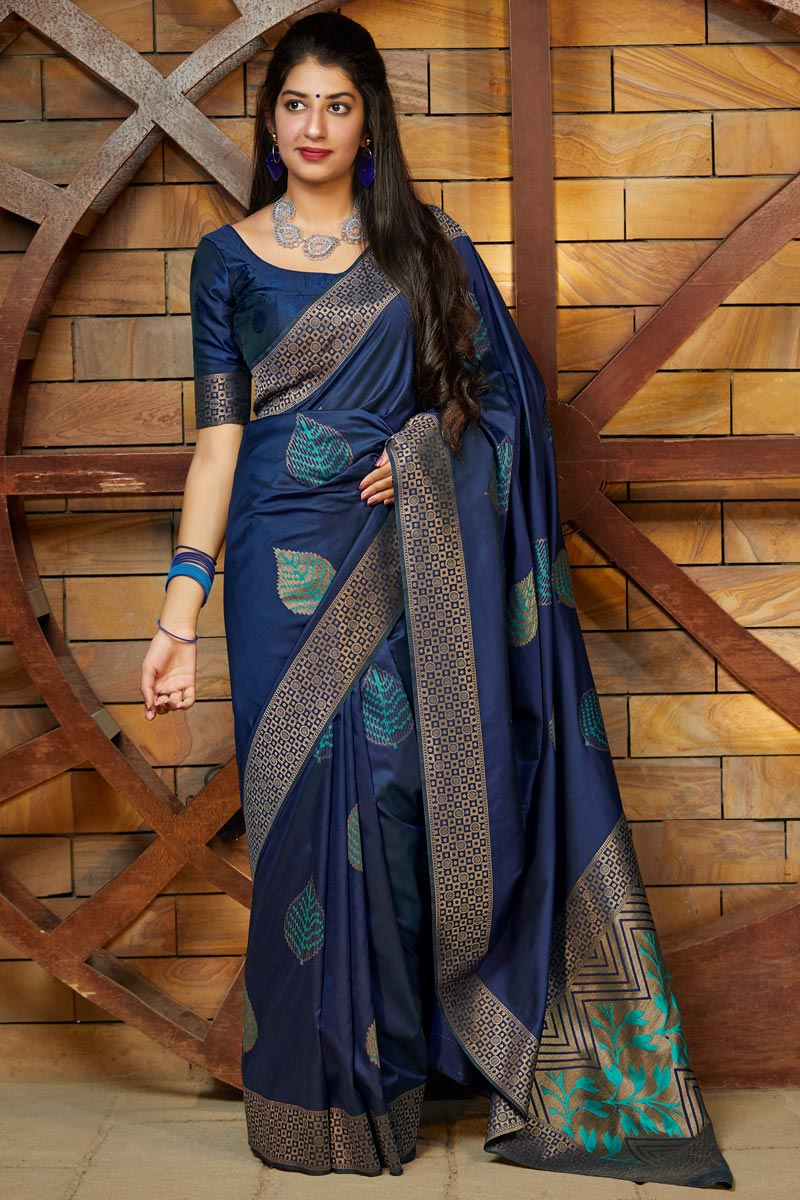 Silk Fabric Sangeet Wear Alluring Navy Blue Color Weaving Work Saree