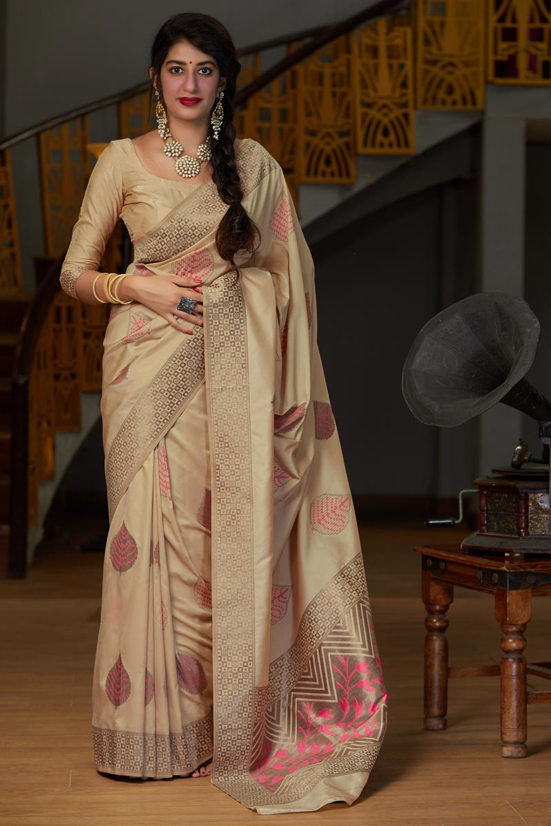 Silk Fabric Elegant Sangeet Wear Beige Color Weaving Work Saree