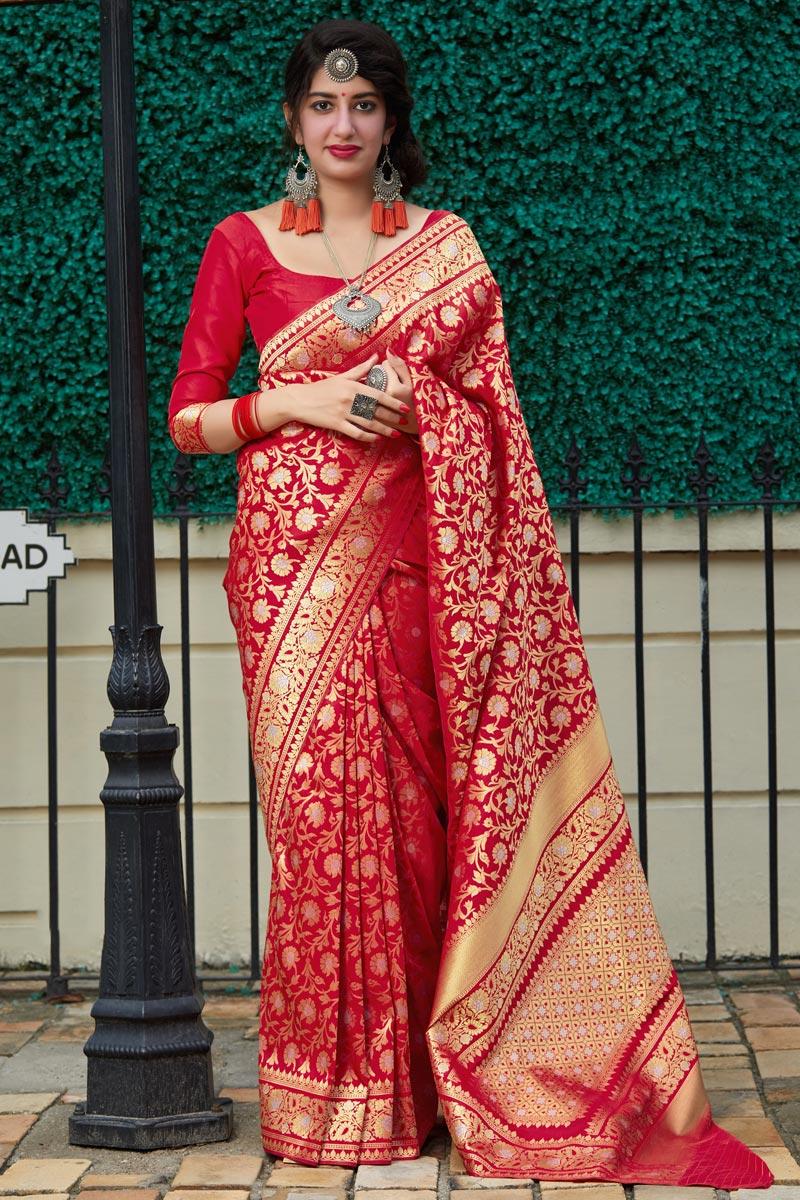 Red Color Sangeet Wear Silk Fabric Elegant Weaving Work Saree
