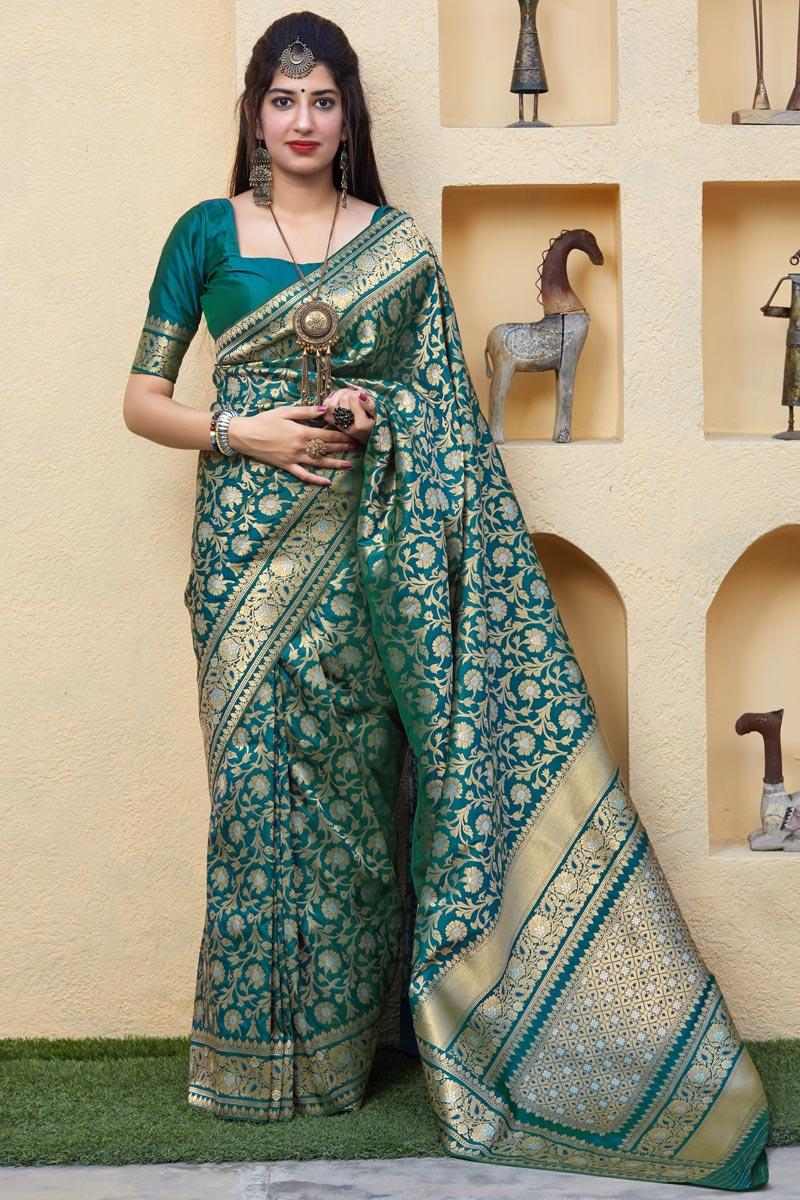 Silk Fabric Sangeet Wear Elegant Teal Color Weaving Work Saree