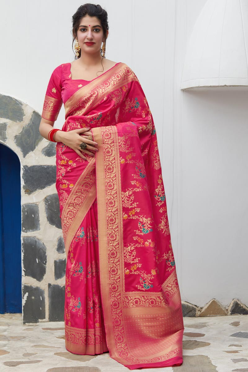 Sangeet Wear Silk Fabric Elegant Weaving Work Saree In Rani Color
