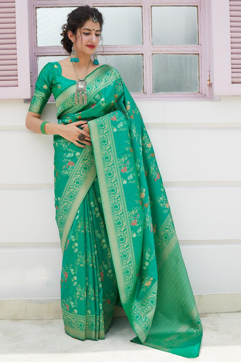 Sea Green Color Sangeet Wear Elegant Silk Fabric Weaving Work Saree