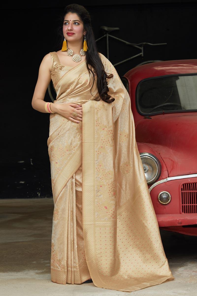 Sangeet Wear Silk Fabric Elegant Weaving Work Saree In Beige Color