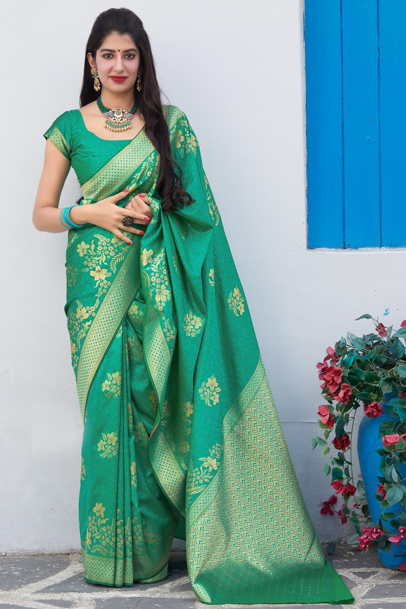 Cyan Color Sangeet Wear Elegant Silk Fabric Weaving Work Saree