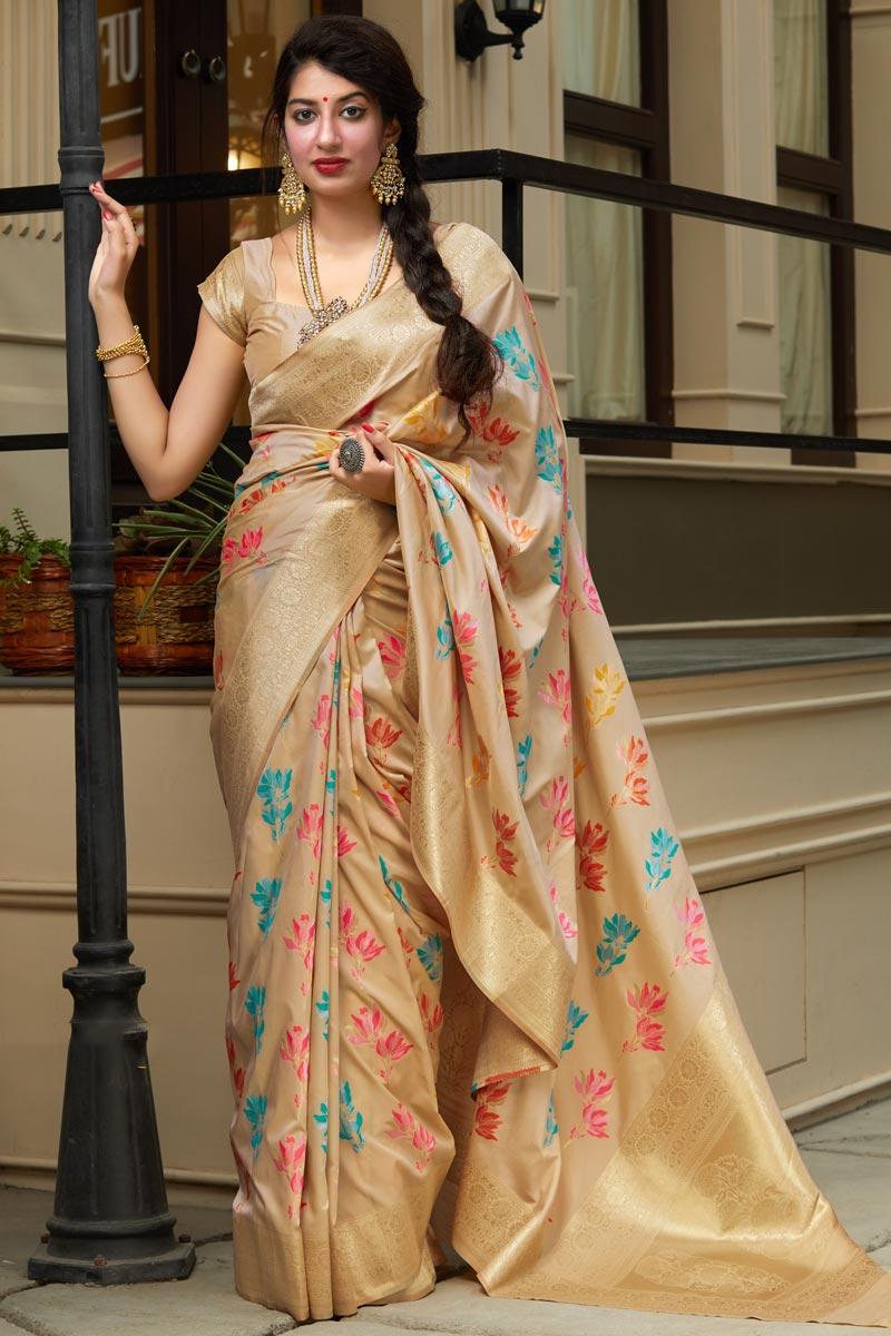 Silk Fabric Sangeet Wear Beige Color Elegant Weaving Work Saree
