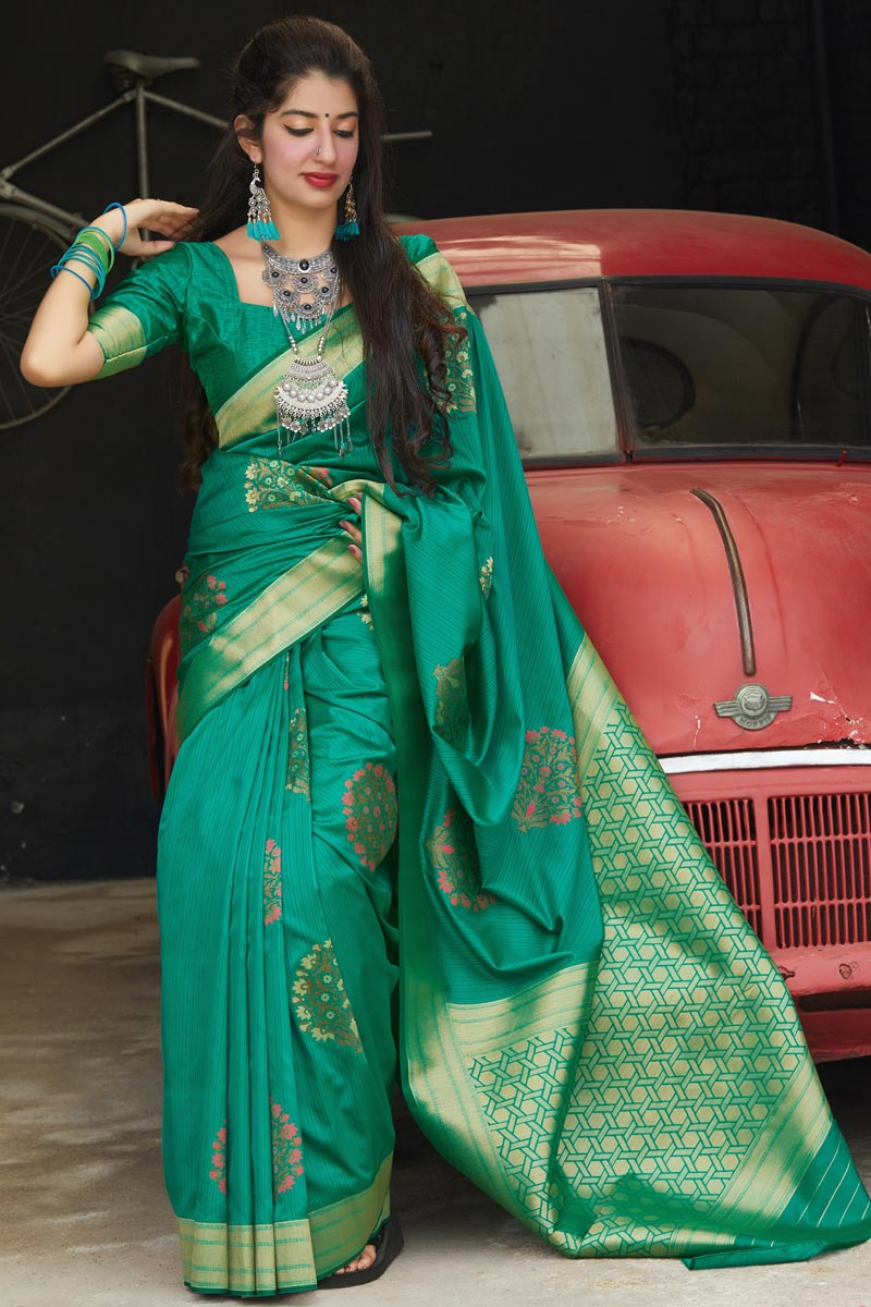 Teal Color Sangeet Wear Elegant Silk Fabric Weaving Work Saree