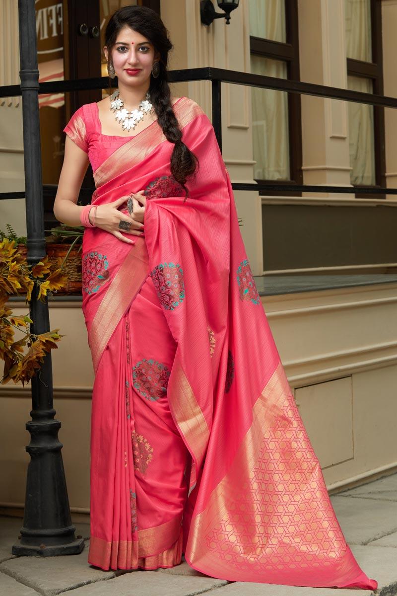 Silk Fabric Sangeet Wear Elegant Pink Color Weaving Work Saree