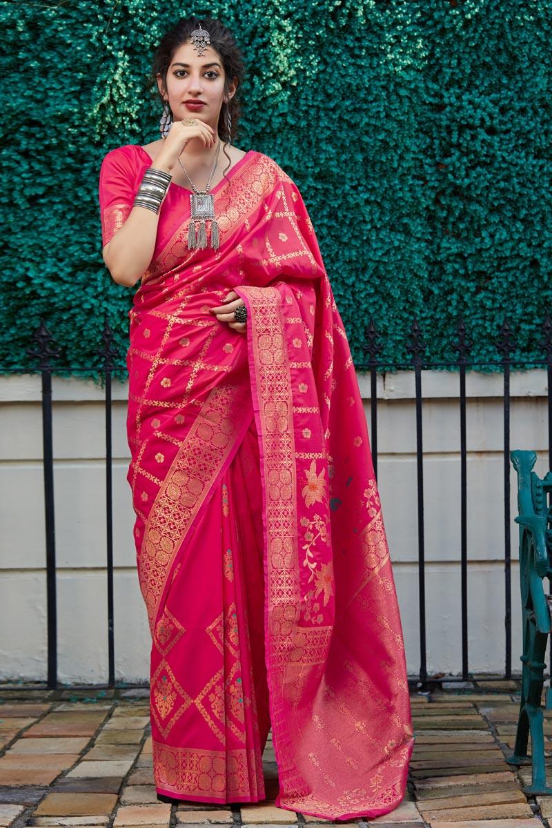 Sangeet Wear Rani Color Elegant Weaving Work Saree In Silk Fabric