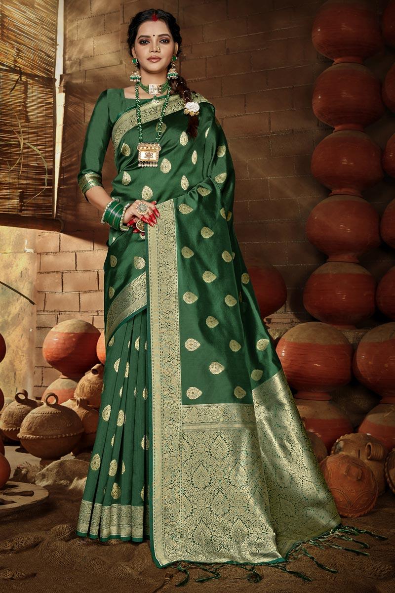 Chic Green Color Puja Wear Art Silk Weaving Work Saree