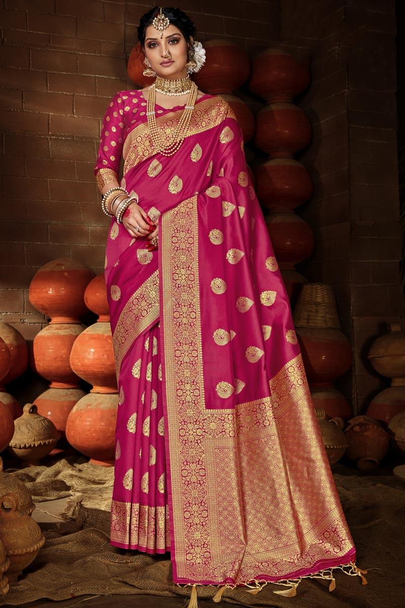 Art Silk Chic Puja Wear Rani Color Weaving Work Saree