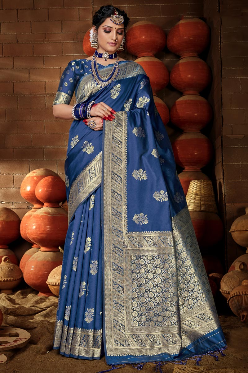 Puja Wear Chic Art Silk Weaving Work Saree In Blue Color