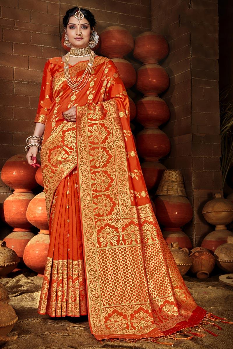 Art Silk Chic Puja Wear Orange Color Weaving Work Saree
