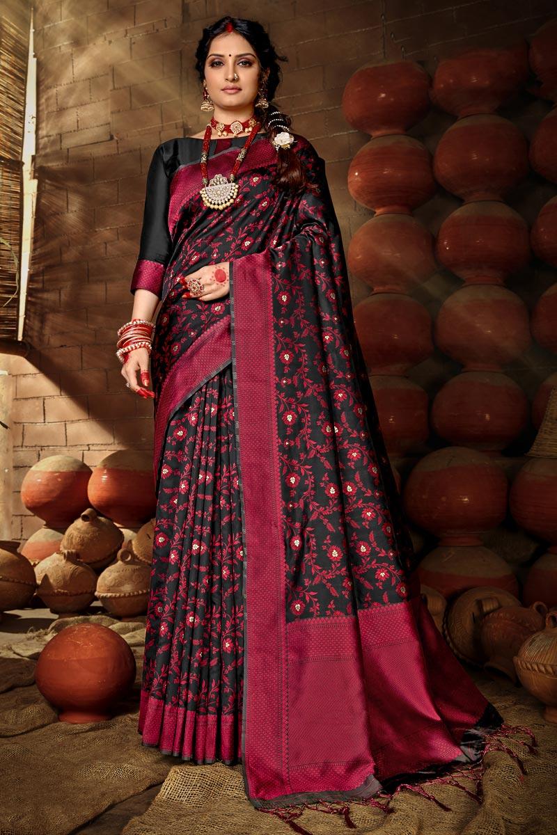 Puja Wear Chic Art Silk Weaving Work Saree In Black Color