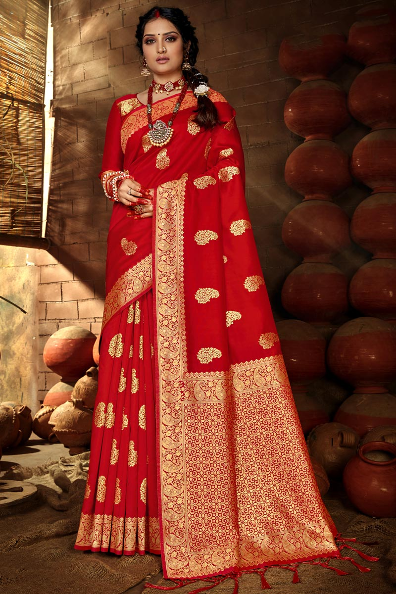 Art Silk Puja Wear Red Color Chic Weaving Work Saree
