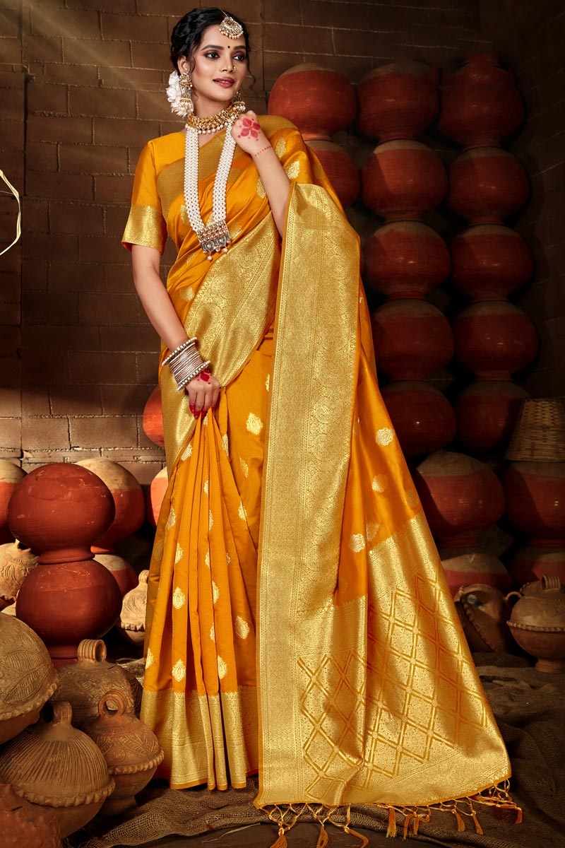 Yellow Color Puja Wear Chic Art Silk Weaving Work Saree