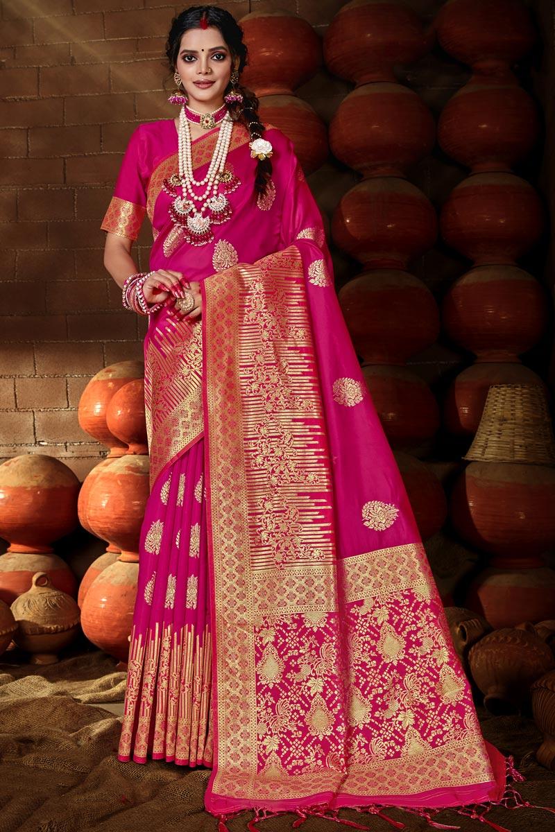Puja Wear Art Silk Chic Rani Color Weaving Work Saree
