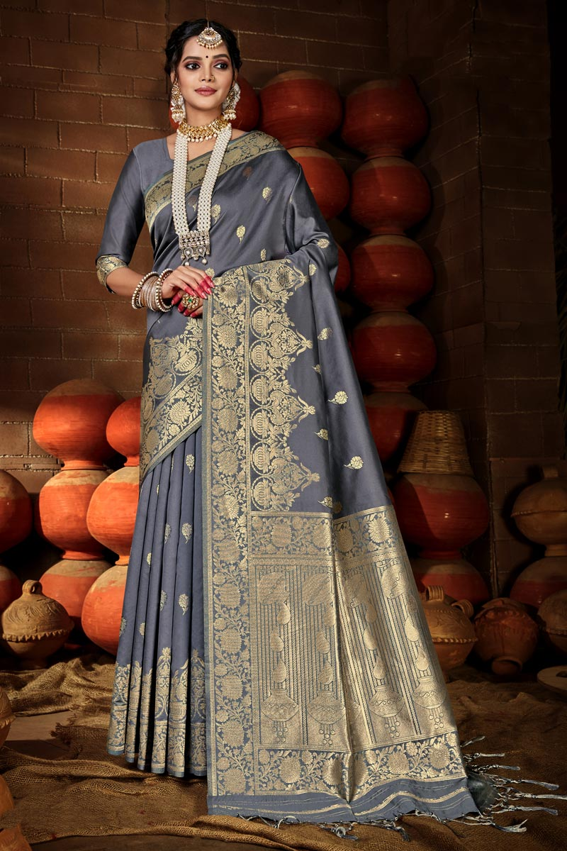 Grey Color Chic Puja Wear Art Silk Weaving Work Saree