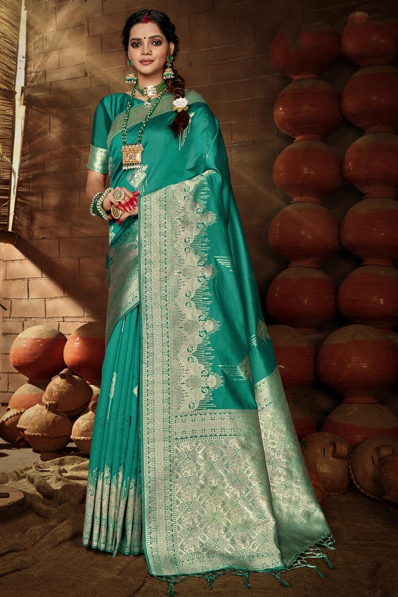 Teal Color Puja Wear Art Silk Chic Weaving Work Saree