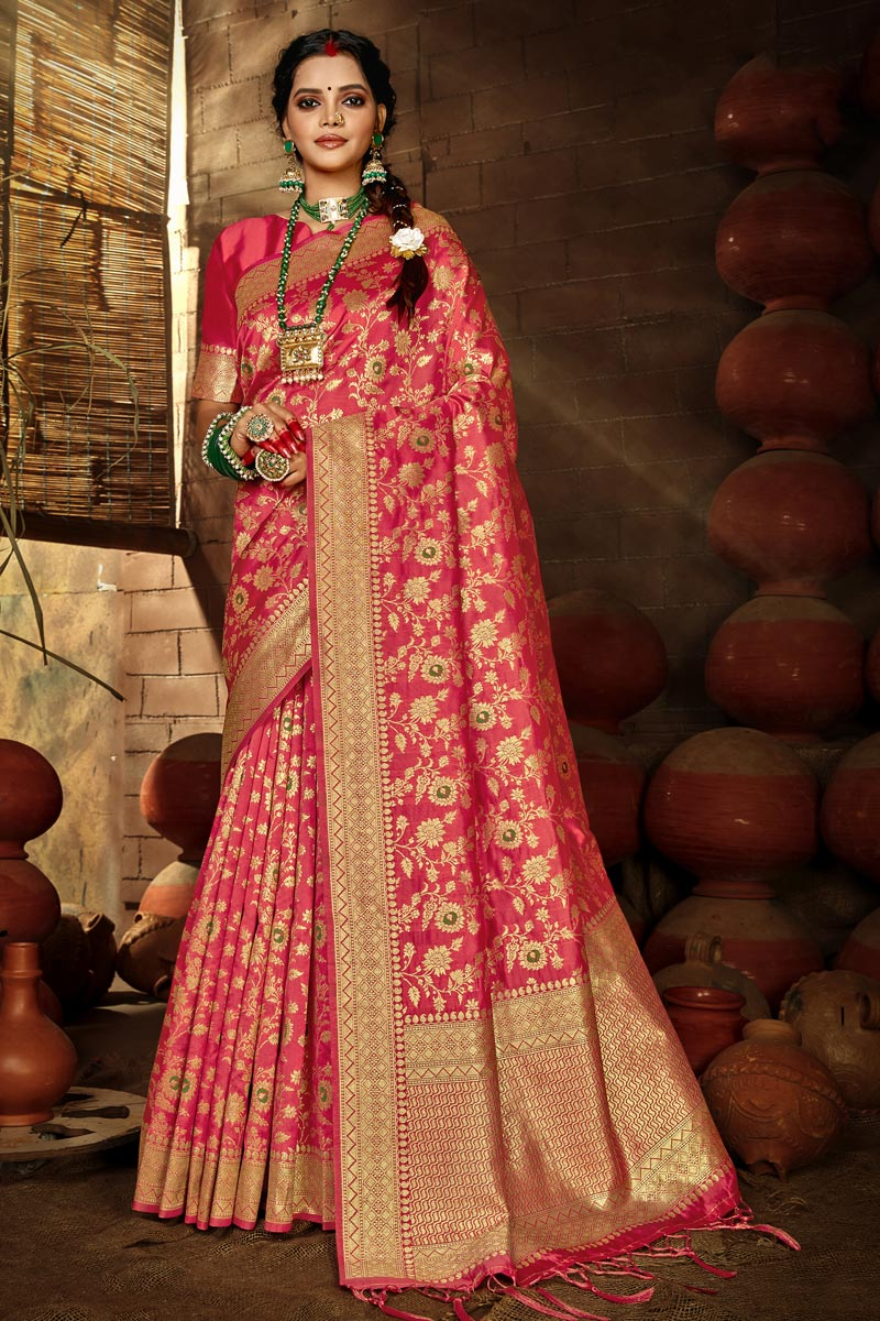 Puja Wear Chic Pink Color Weaving Work Saree In Art Silk