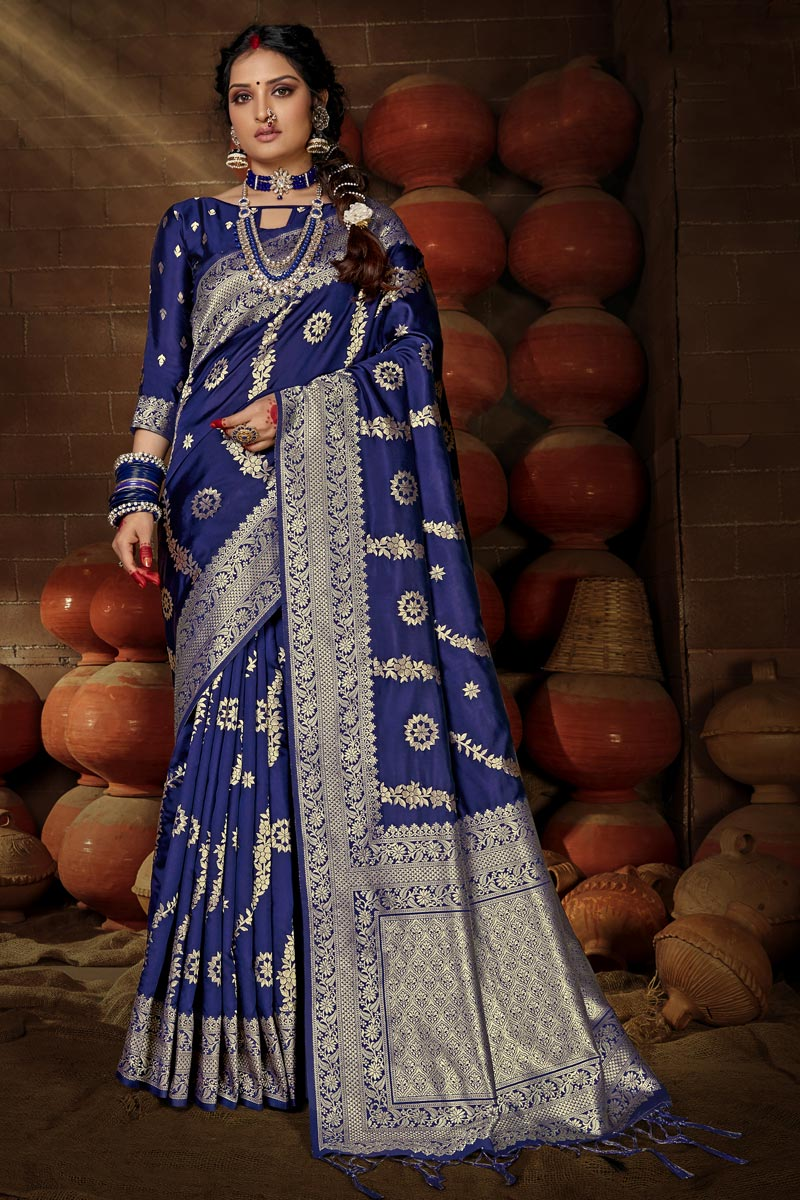 Navy Blue Color Puja Wear Art Silk Chic Weaving Work Saree